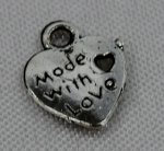 50 Made wiht Love Charms 10mm Form Herz